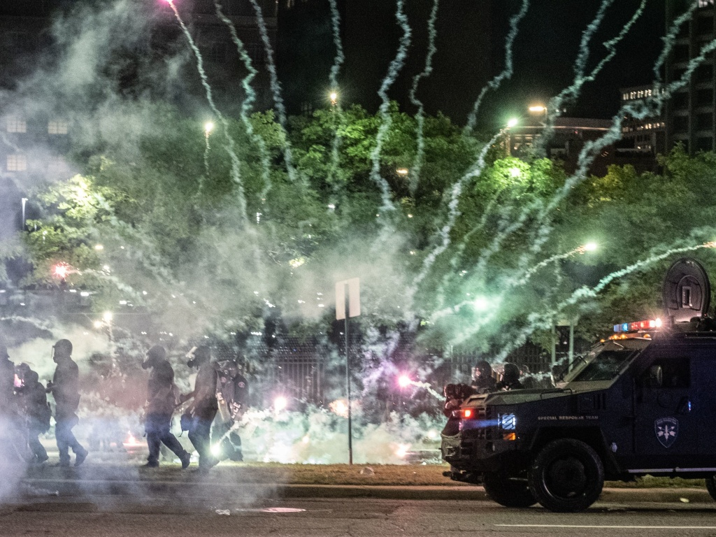 After covering anti-police brutality protests in May, photojournalists Nicole Hester, Matthew Hatcher and Seth Herald (who took this photo) were shot with rubber pellets by Detroit Police Cpl. Daniel Debono in an