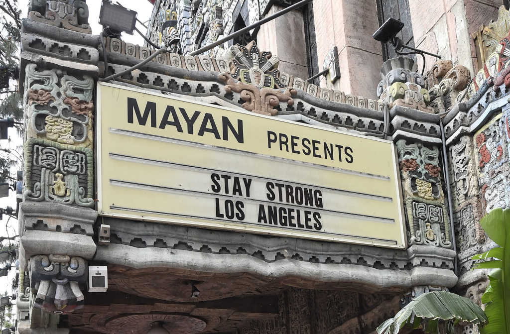 Live music venue The Mayan which remains closed In Los Angeles due to restrictive Coronavirus measures on April 08, 2020 in Los Angeles, California.