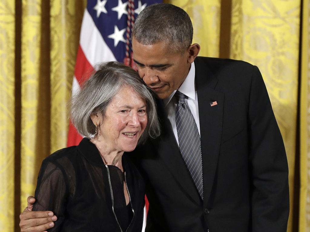Poet Louise Glück in 2016 receiving the National Humanities Medal from President Barack Obama. Wednesday, Glück was awarded the 2020 Nobel Prize in Literature.