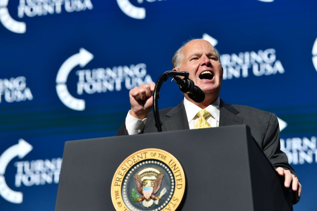 Rush Limbaugh speaks before US President Donald Trump takes the stage during the Turning Point USA Student Action Summit at the Palm Beach County Convention Center in West Palm Beach, Florida on December 21, 2019.