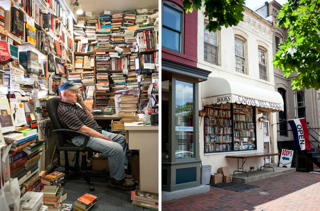 Capitol Hill Books owner Jim Toole runs the front register of his used bookstore several days a week. He's banned several words from his store, including