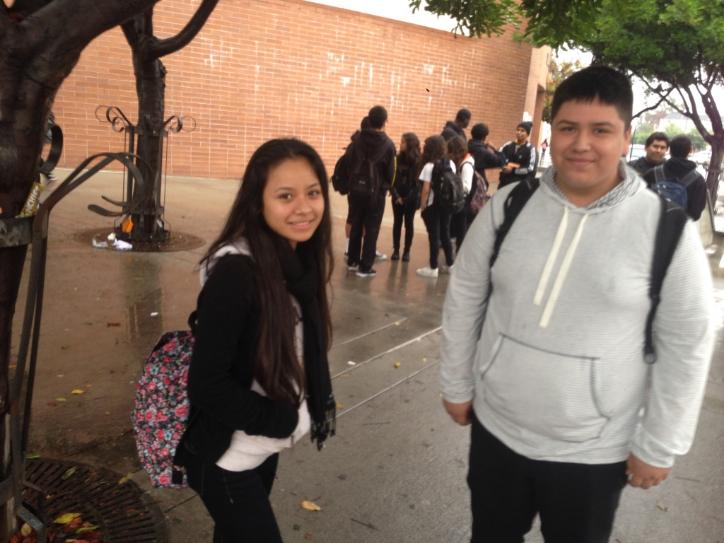 King Drew Magnet High School 11th-graders Maria Delgado and Christian Acuna said they're disappointed the school district canceled iPad orders for their campus and 26 others.
