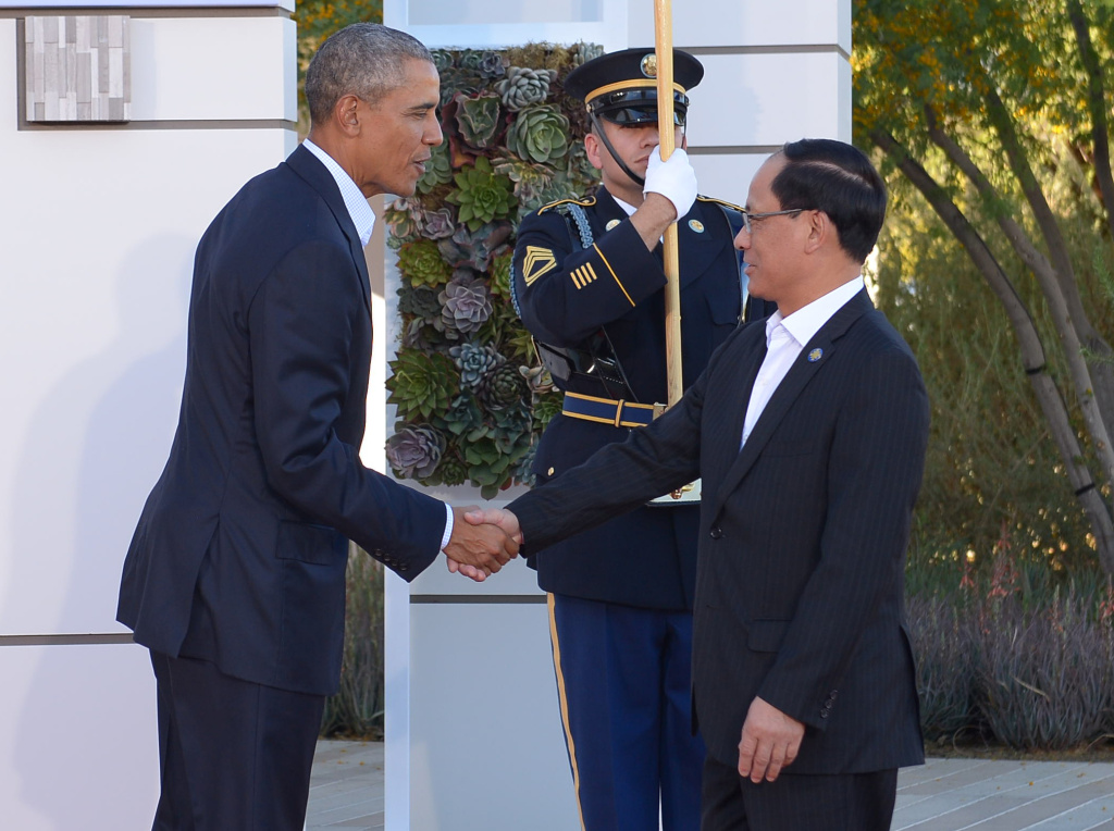 US President Barack Obama greets ASEAN Secretary General Le Luong Minh (L) upon arrival at Sunnylands estate for a meeting of the Association of Southeast Asian Nations (ASEAN) on February 15, 2016 in Rancho Mirage, California.