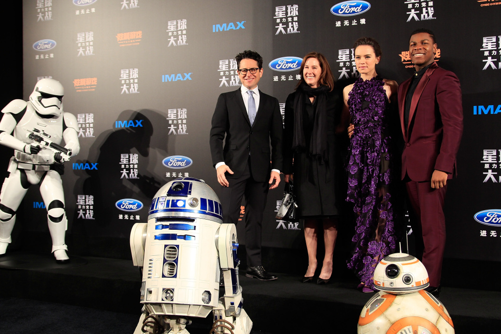 File: From left to right, J.J. Abrams, Kathleen Kennedy, Daisy Ridley, John Boyega, attend the premiere of