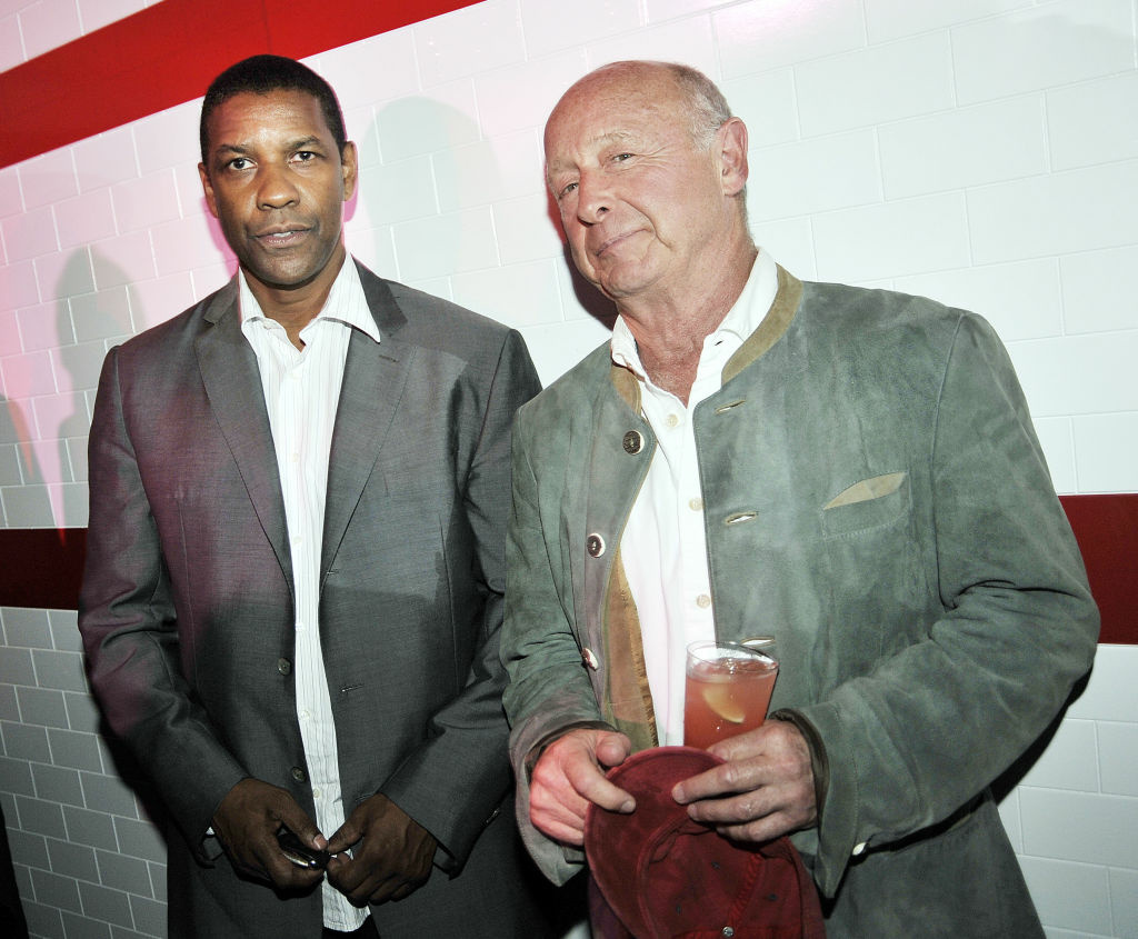 Actors Denzel Washington (L) and director Tony Scott pose at the afterparty for the premiere of Columbia Pictures'