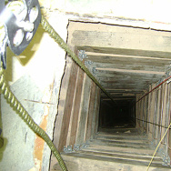 In this undated photo provided by the United States Drug Enforcement Administration, shows the tunnel shaft entrance on the U.S. side of a 240-yard, complete and fully operational drug smuggling tunnel that ran from a small business in Arizona to an ice plant on the Mexico side of the border, Thursday, July 12, 2012, in San Luis, Ariz.