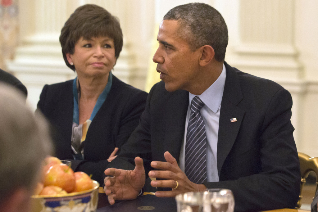 "White House Senior Adviser Valerie Jarrett listens as President Barack Obama speaks in the State Dining Room of the White House in Washington, Thursday, Feb. 27, 2014, during a meeting with foundation and business leaders. The president was to discuss his  ""My Brother's Keeper"" initiative to expand opportunity for minority boys and young men."