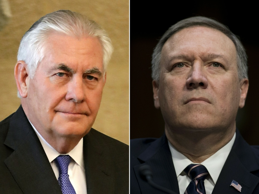 This combination of pictures created on March 13, 2018 shows then US Secretary of State Rex Tillerson (L) on February 15, 2018 and then US Congressman Mike Pompeo, on January 12, 2017.