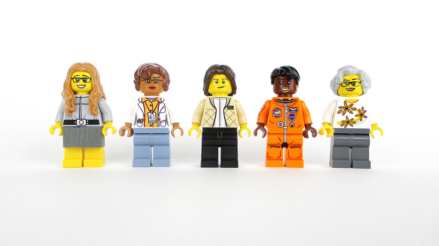 The Women of NASA featured in the Lego set are (left to right): computer scientist Margaret Hamilton, mathematician Katherine Johnson, astronaut Sally Ride, astronomer Nancy Grace Roman, and astronaut Mae Jemison.