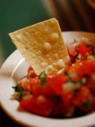 Pico de Gallo sauce is served in a Mexican restaurant in Santa Monica, California.