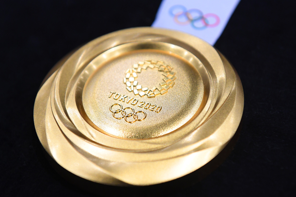 The gold medal is displayed after the Tokyo 2020 medal design unveiling ceremony during Tokyo 2020 Olympic Games