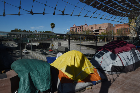 A homeless encampment on a freeway overpass near the Federal Building in downtown Los Angeles, California on December 1, 2015.
