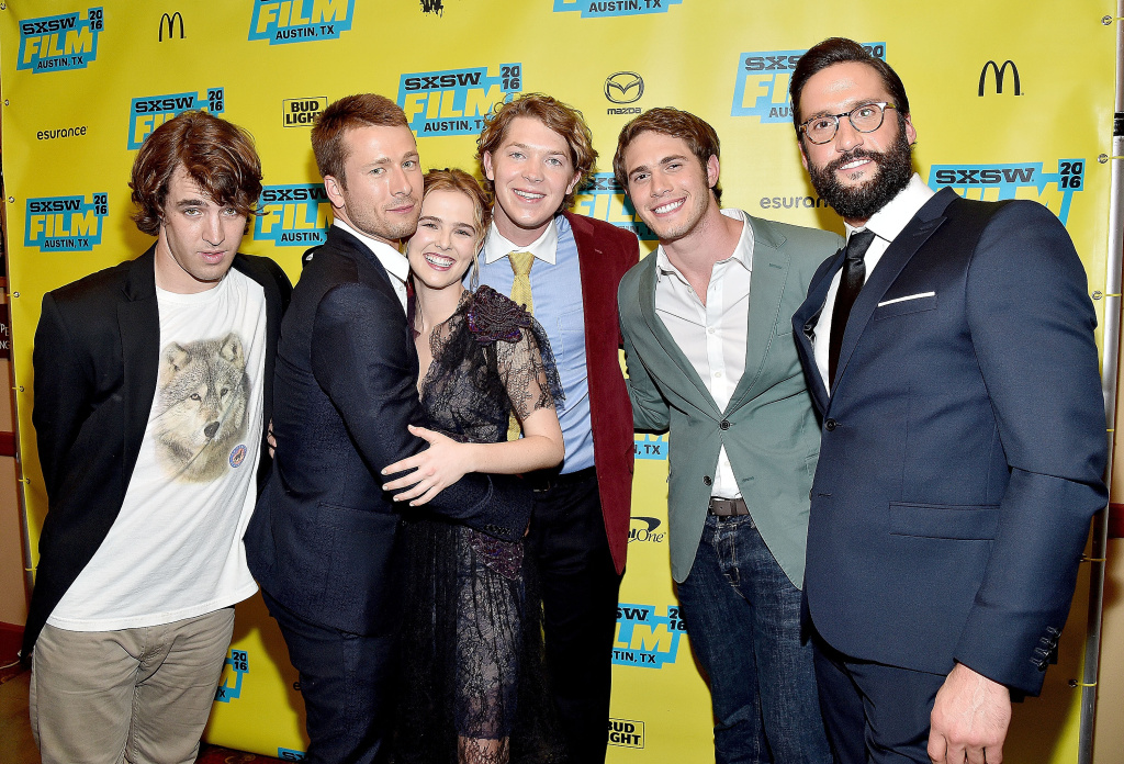(L-R) Actors Temple Baker, Glen Powell, Zoey Deutch, Tanner Kalina, Blake Jenner and Juston Street attend the screening of