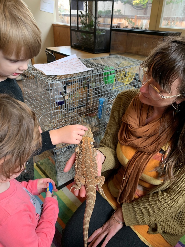 Lainy Morse shows students Wesley Schmidt and Celeste Abraldes a bearded dragon in a photo taken when school was open.