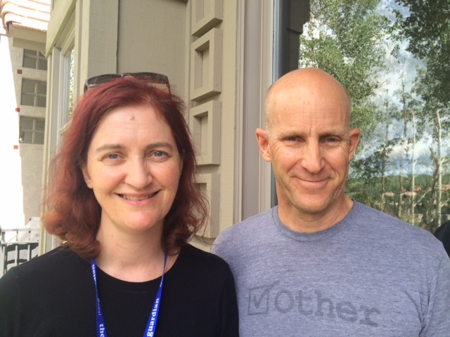 Author-screenwriter Emma Donoghue with The Frame's John Horn at the Telluride Film Festival.