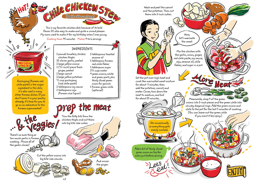 Learning to make Korean food with a graphic cookbook