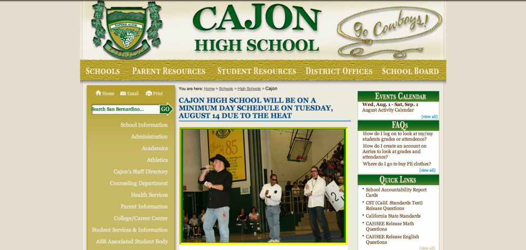 A screenshot of the Cajon High School homepage.