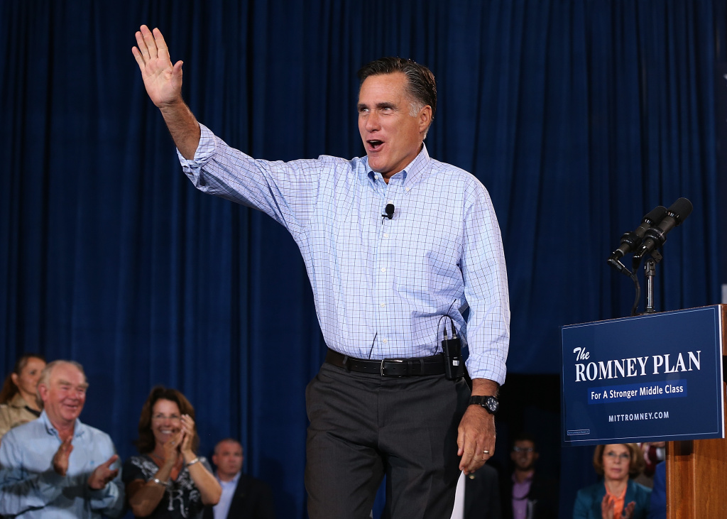 Republican presidential candidate and former Massachusetts Gov. Mitt Romney speaks during a campaign event with Republican Governors at Basalt Public High School on August 2, 2012 in Basalt, Colorado.