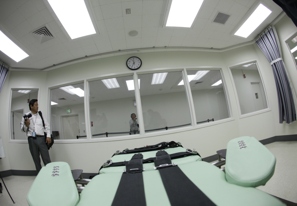 Shown is the view a condemned inmate would have from a table inside the death chamber of the new lethal injection facility at San Quentin State Prison in San Quentin, Calif., Tuesday, Sept. 21, 2010. The state corrections department is holding a public hearing on its plan to use a single lethal injection to meet legal requirements amid a national shortage of execution drugs.