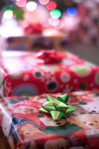 Christmas presents waiting to be unwrapped.