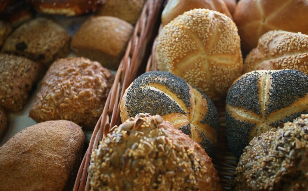 Bread is displayed at a bakery in Kaufbeuren, Germany on October 25, 2017.