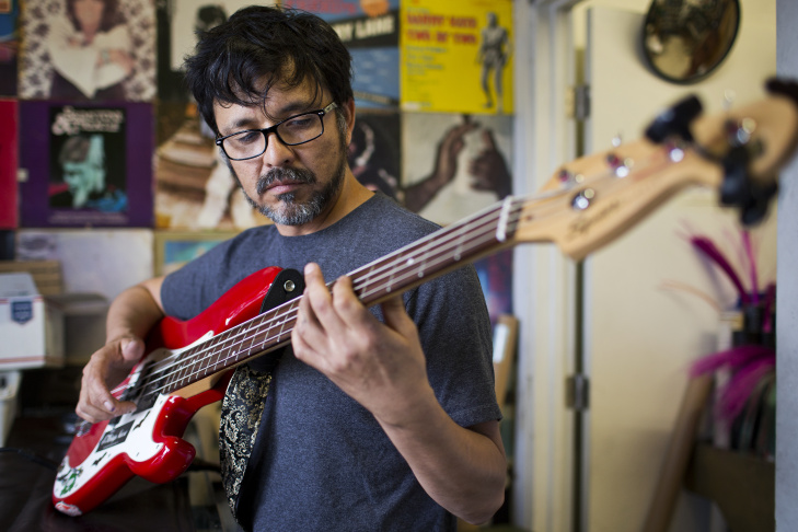 Gabriel Tenorio runs Guadalupe Custom Strings in Boyle Heights. Every string is hand-made inside the storefront on E. Cesar Chavez Avenue.