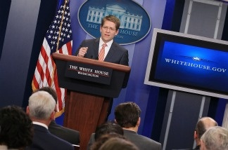 White House Press Secretary Jay Carney speaks in the White House briefing room on April 11, 2011, in Washington, DC. Carney said President Obama will deliver a speech on Wednesday regarding his deficit reduction plan.