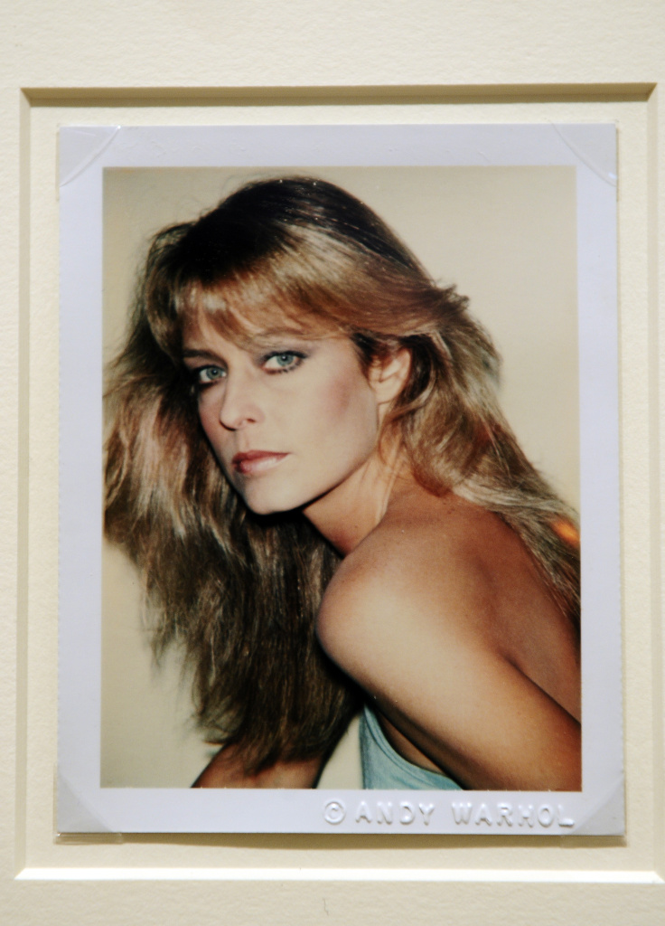 """Farrah Fawcett"",  a Polaroid portrait by artist Andy Warhol, is displayed at Sotheby's during a preview of The Polaroid Collection, in New York, June 16, 2010. It was the basis for the Warhol painting in dispute."