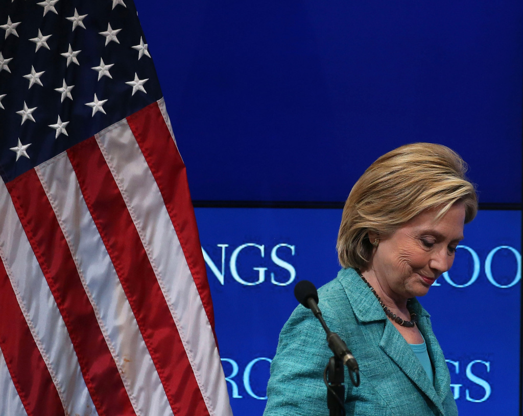 Former Secretary of State and Democratic presidential candidate Hillary Clinton walks away after speaking about Iran at the Brookings Institute September 9, 2015 in Washington, DC.