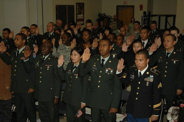 A military naturalization ceremony held at a U.S. Army base in South Korea, December 2008