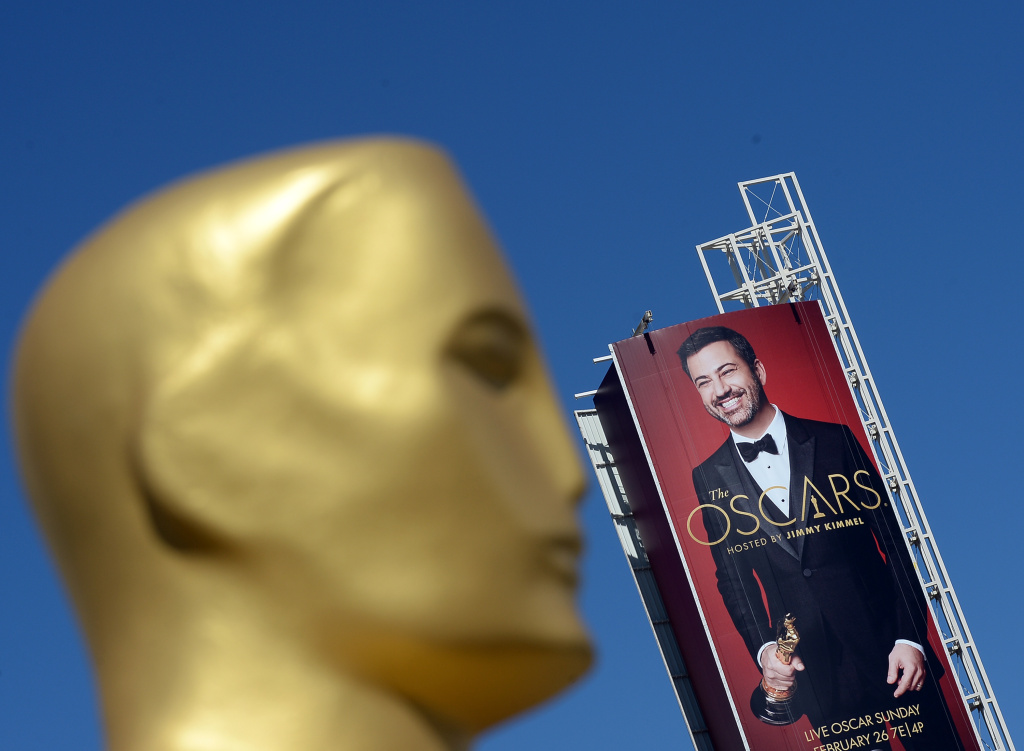 LOS ANGELES, CA - A billboard showing Oscar host Jimmy Kimmel and an Oscar statue at Hollywood and Highland Center in Los Angeles, California. (Photo by Kevork Djansezian/Getty Images)