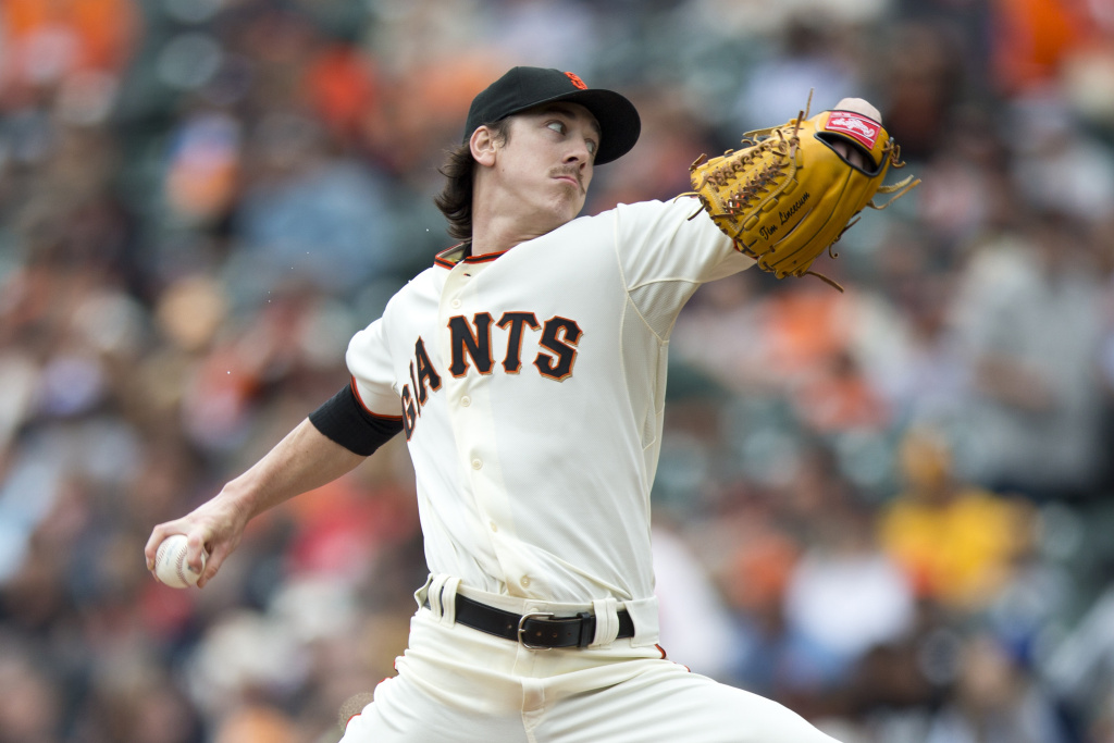 Tim Lincecum #55 of the San Francisco Giants pitches against the San Diego Padres during the first inning at AT&T Park on June 25, 2014 in San Francisco.