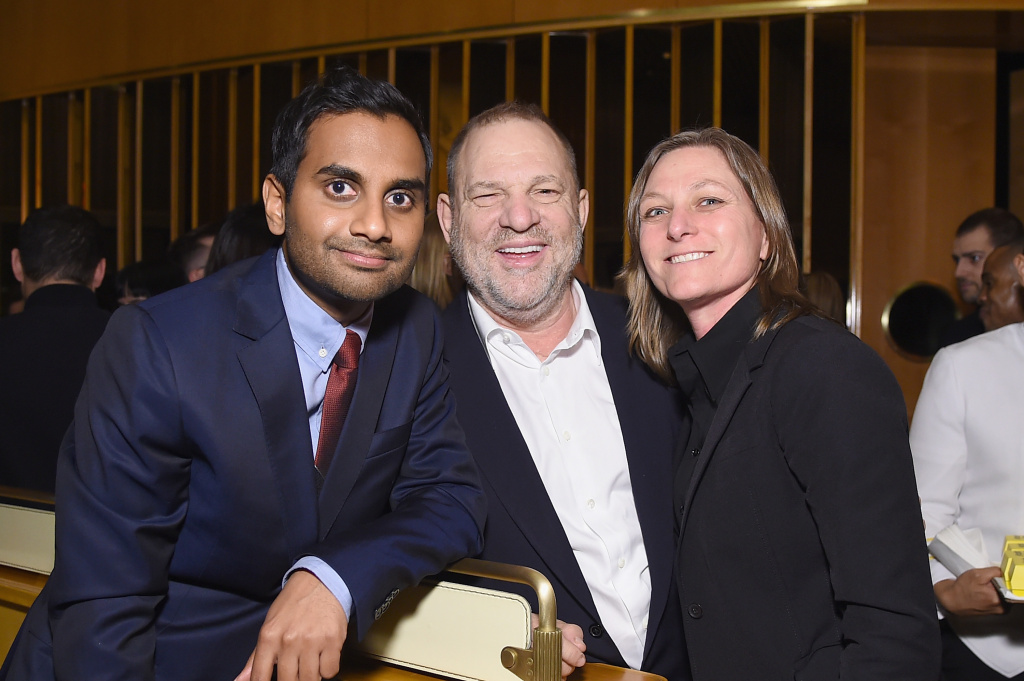 Aziz Ansari, film producer Harvey Weinstein and VP of Original Series for Netflix Cindy Holland attend the Netflix