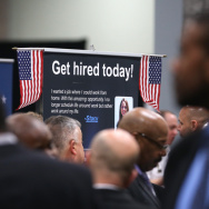 The scene at a job fair for veterans earlier this year in Washington, D.C.