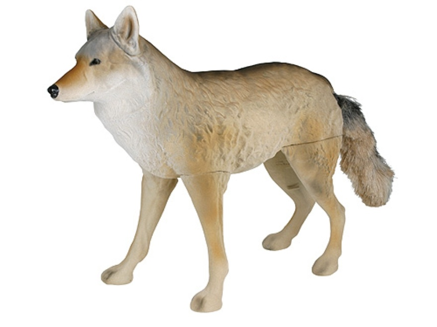 Image of a coyote decoy.