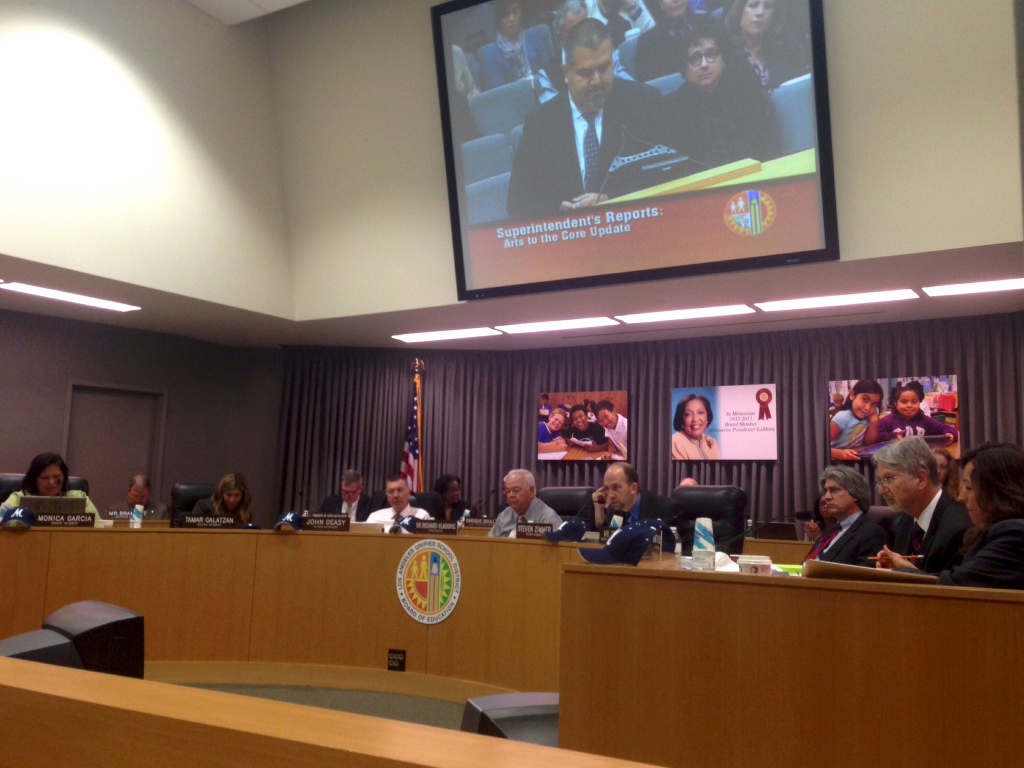 The Los Angeles Unified school board discusses the district's arts education plan during a meeting Feb. 11, 2014.