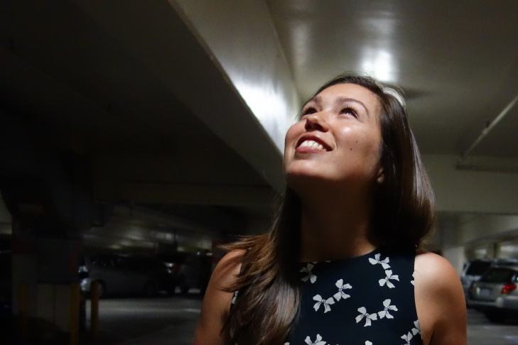 Hannah Barnick returns to Parking Structure 4 July 9, 2015, where her vehicle was flooded and personal belongings destroyed a year ago in a DWP-caused flood.
