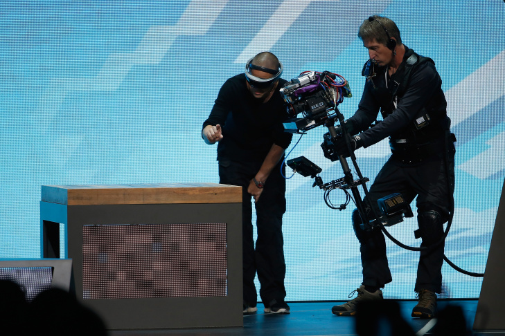 Microsoft HoloLens is demonstrated during the Microsoft Xbox E3 press conference at the Galen Center on June 15, 2015 in Los Angeles, California. The Microsoft press conference is held in conjunction with the annual Electronic Entertainment Expo (E3) which focuses on gaming systems and interactive entertainment, featuring introductions to new products and technologies.