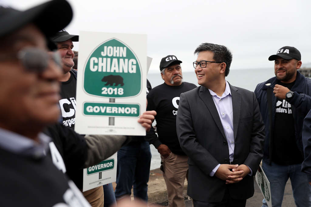 California Democratic gubernatorial candidate, California State Treasurer John Chiang, greets union carpenters during a campaign event near the Golden Gate Bridge on June 7, 2017 in San Francisco, California.