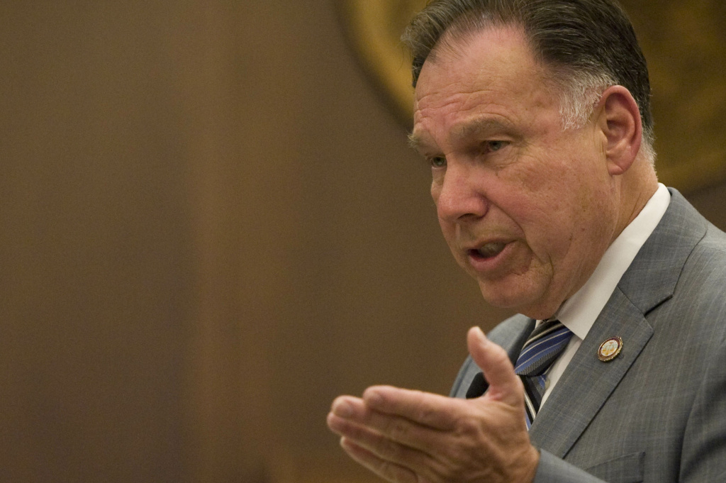File: Orange County district attorney Tony Rackauckas delivers his rebuttal closing argument in the trial of two former Fullerton police officers who were facing charges related to the death of Kelly Thomas, a homeless man, who died after a violent 2011 confrontation with the then officers.