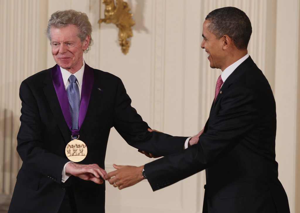 U.S. President Barack Obama congratulates musician Van Cliburn after presenting him with the 2010 National Medal of Arts, during a ceremony in the East Room of the White House, on March 2, 2011 in Washington, DC. President Obama presented the 2010 National Medal of Arts and National Humanities Medal to 20 honorees.