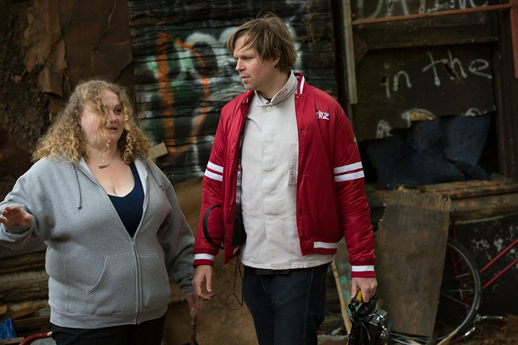 Director Geremy Jasper and Danielle Macdonald on the set of