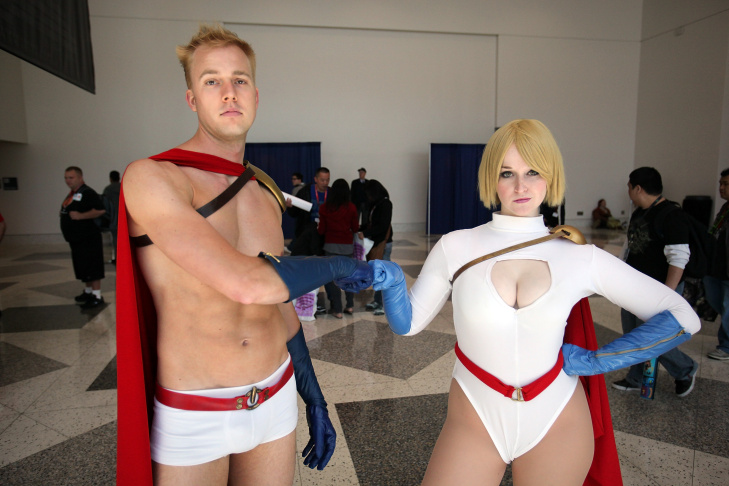 A cosplay gathering in the Anaheim Convention Center's Grand Plaza during WonderCon Anaheim 2014.