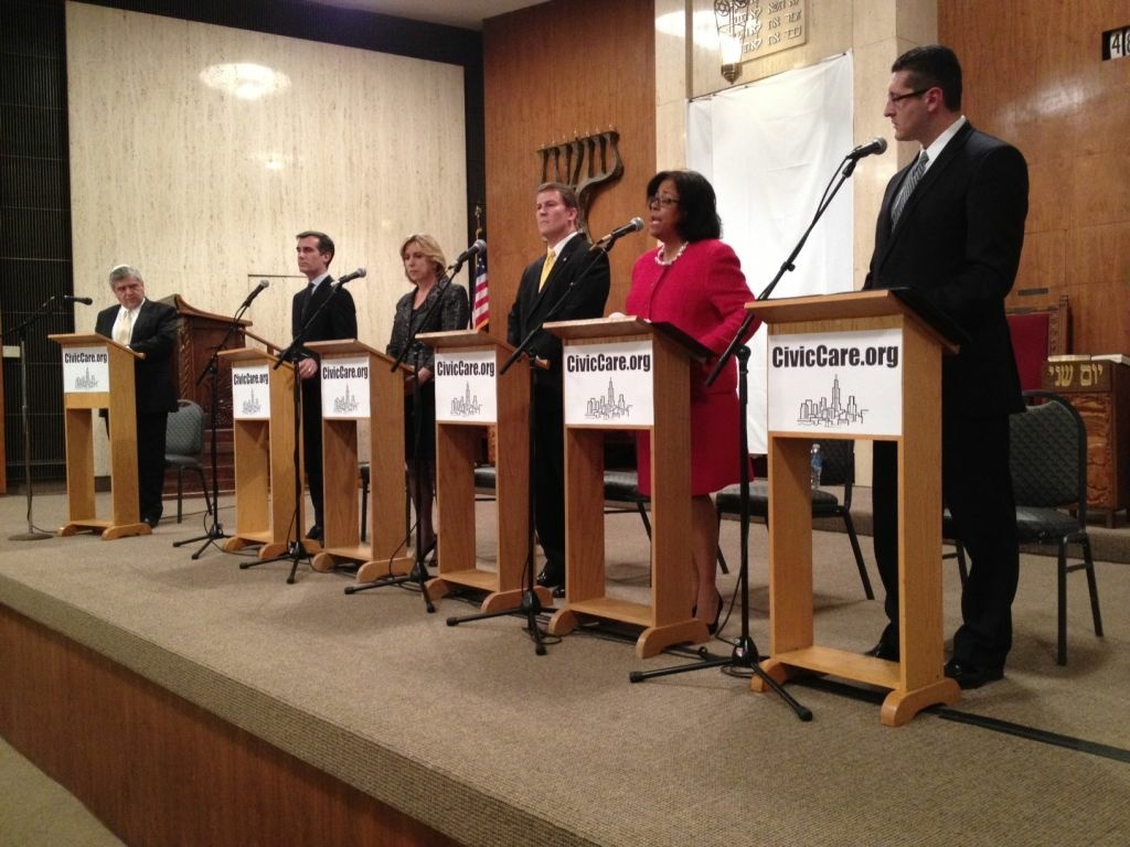 Five candidates for mayor of Los Angeles debated at Beth Jacob Temple in Beverly Hills on Thursday.