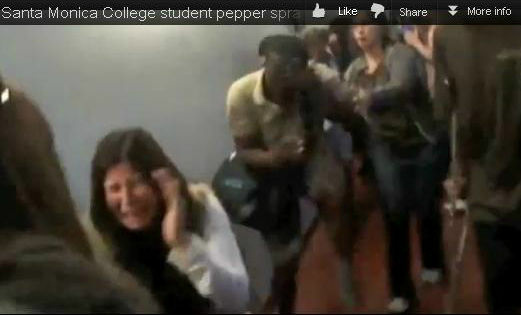 Screenshot of Santa Monica College student pepper sprayed outside of a Board of Trustees meeting on Tuesday, April 3, 2012. The video of the scene was shared by the student newspaper The Corsair on its site and YouTube channel.