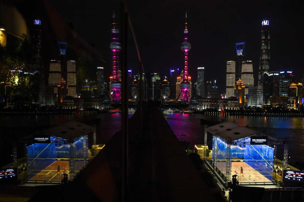 View of the skyline of Shanghai during the J.P. Morgan China Squash Open 2017 in Shanghai on September 3, 2017.