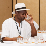 Ian Burrell, a rum ambassador from the U.K., samples the liquor at the Miami Rum Festival.