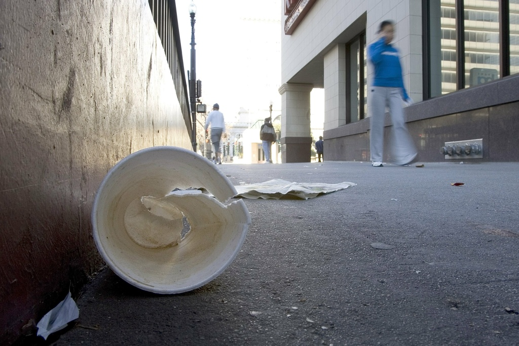 Used styrofoam cups are seen on the streets on January 1, 2007 in Oakland, California. I