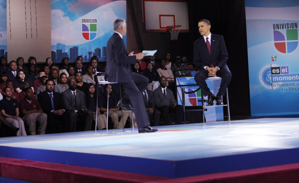 MARCH 2011: U.S. President Barack Obama (R) and moderator Jorge Ramos participate in an education town hall hosted by Univision at Bell Multicultural High School, Washington, DC. Fusion, Univision's new English language channel will launch tonight with another Ramos interview with President Obama.