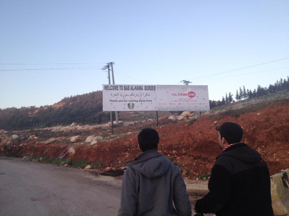 A couple of activists with the Syrian American Council head towards the Turkey-Syria border.